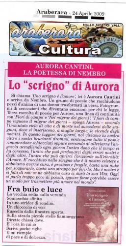 """Articolo da """"Araberara"""" per presentare libro di poesie """"Uno scrigno è l'amore"""" di Aurora Cantini"""