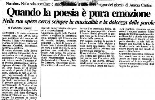 """Articolo da """"Il Giornale di Bergamo"""" per presentare il libro di poesie """"Nel migrar dei giorni"""" di Aurora Cantini"""