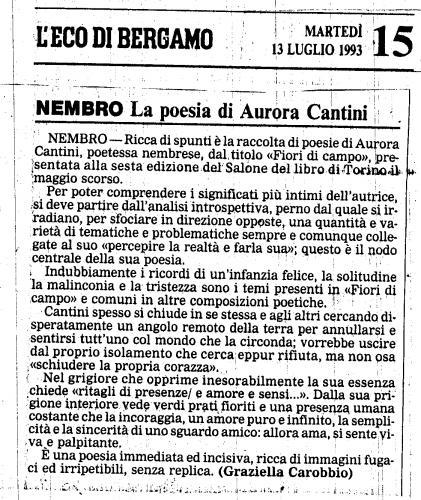 L'Eco di Bergamo, Fiori di Campo, primo libro di poesie di Aurora Cantini, 1993, rieditato 2011