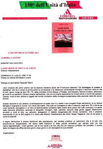 INCONTRO CON L'AUTORE: Aurora Cantini Libreria Mondadori Lovere