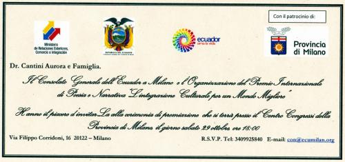 Premio Letterario Internazionale Ecuador Milano