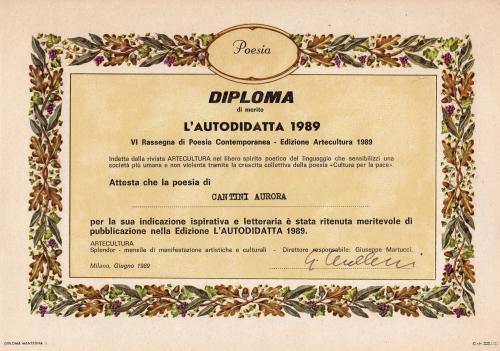 Premio Letterario diploma L'autodidatta 1989