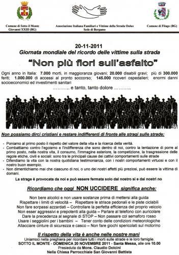 20 Novembre Giornata Mondiale del Ricordo delle vittime della strada