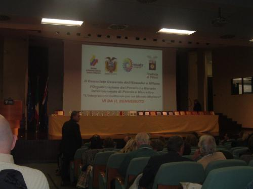 Premio letterario internazionale CEAC Ecuador sezione letteratura Milano, la sala del Centro congressi della Provincia