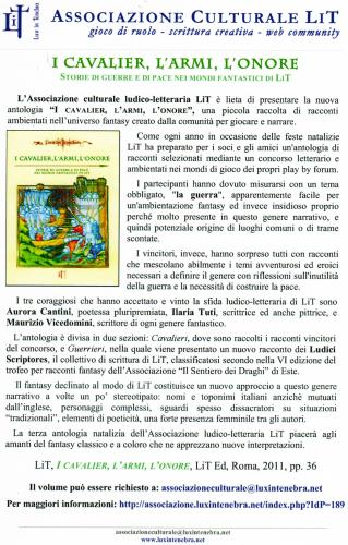 I MONDI DI LIT, I cavalier, l'armi, l'onore antologia di racconti vincitrice Aurora Cantini