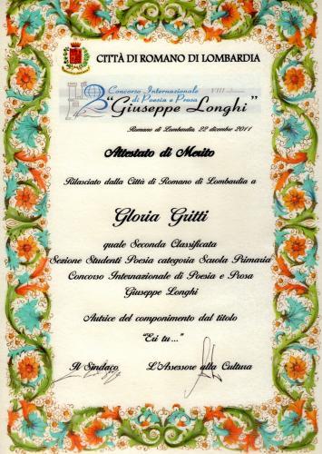 diploma concorso poesia Giuseppe Longhi sezione studenti