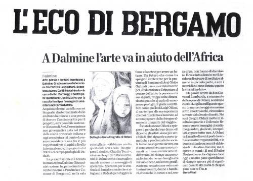 L'Eco di Bergamo, articolo presentazione AVSI con Luigi Oldani e Aurora Cantini